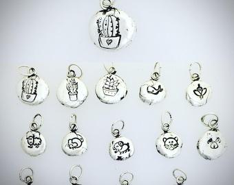 Pebble Charm necklaces in Metal Clay-Cacti-Animal Charms-PMC Charms-Animal Lover-Cacti Lover-Succulent-Vegan Gift-Vegan Necklace-Vegan