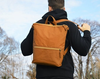 Waxed Canvas Backpack, Mustard Minimalist Rucksack, Vegan Convertible Waterproof Laptop Carrier, available in two sizes,  Christmas Gift