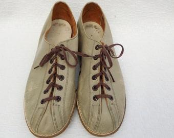 Tan / Grey Leather 'Brunswick' Bowling Shoes - Women's 6 1/2