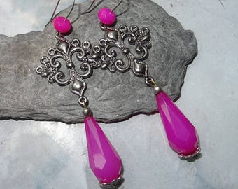 long romantic earrings vintage baroque renaissance pink