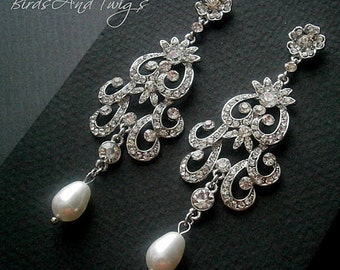 Bridal Chandelier Pearl Earrings Flower Scroll Wedding Classic White Swarovski Pearls And Crystal Rhinestones