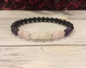 Empath Bracelet in 6mm, AA Grade Black Tourmaline, Amethyst, Rose Quartz, Moonstone Protection, Balancing Emotions, Loving Energy, Intuition
