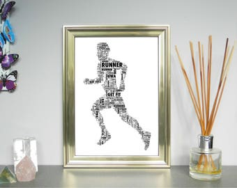 Runner - Personalised Sportsman/woman. Word Art Print. FREE UK P&P. Christmas, Birthday. Running,