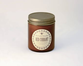 Red Currant Candle || 8.5 oz Scented Candle || Soy + Beeswax Blend Candle in Amber Jar