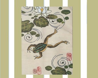 Japanese Jumping Frog 1990s Needlepoint Plus Leaflet Counted Thread Designs Issue 111 French Flower Market Box Vintage Needlepoint Patterns