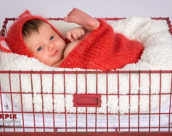Newborn baby girl, boy, fox hat, swaddle sack, preemie size available