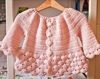 Crochet PATTERN - Cherry Blossom Cardigan (sizes toddler up to 8 years)