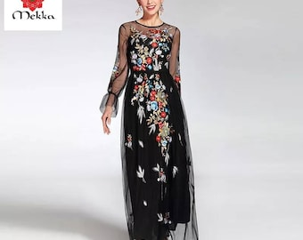 Vintage Style Floral Embroidered Maxi Dress, with Sheer Long Bow Sleeves, Modest, Stylish Dress, Dinner Dress, Chic, Formal, Summer Dress