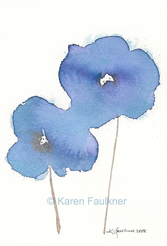 "Watercolor art print of two blue flowers:  ""Wistful"""