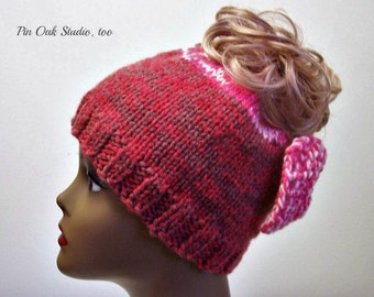 Messy Bun Hat with Bow Messy Pony Tail Hat Cherry Pinks Messy Bun Hat Knitted Double Warm Hat Cold Weather Messy Bun Beanie Ready to Ship