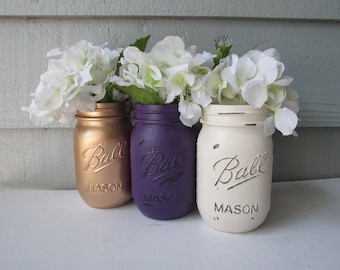 Graduation Party- Painted and Distressed Ball Mason Jars- Gold Metalic, Dark Purple and Cream/White/Ivory-Vases, Wedding, Centerpieces