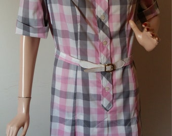 Vintage 50's Dress Full Figure 1960's Day Dress Full Figure Summer Dress Shirt Waist