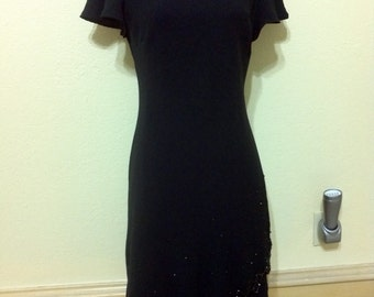 "80s Black Evening Dress Beaded Maxi Dress  Party Dress Hem Formal Black Evening Dress Mother of the Bride Dress size 8 Bust 34"""
