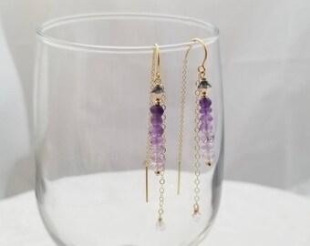 Amethyst Threader Earrings, Amethyst Long Earrings, February Birthstone Earrings, Amethyst Jewelry Set, Ombre Amethyst Earrings,
