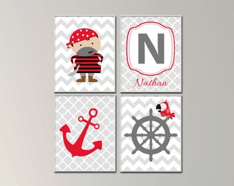 Baby Boy Nursery Art Print Set.  Pirate Nursery Art with Personalized Name.  Suits Red and Grey Nursery Decor. H1037