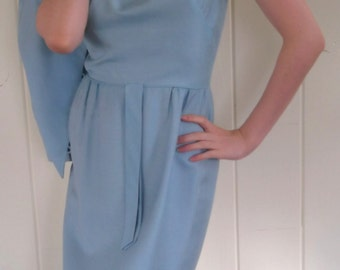 VINTAGE SILK DRESS 1960's Blue Sheath With Jacket Size Small