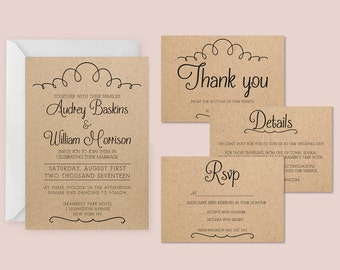 Vintage wedding invitation suite for word or pages, printable invitation, rsvp card, details card, thank you, docx file instant download
