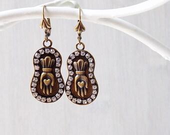 Heart in Hand, Milagro earrings, Mason earrings, Odd Fellow, Loteria earrings, Friendship earrings, unique milagro, good luck jewelry, gift