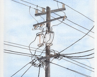 Power Lines Original Watercolor Painting