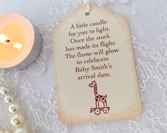 Candle Favor Tags Baby Shower Giraffe Set of 10