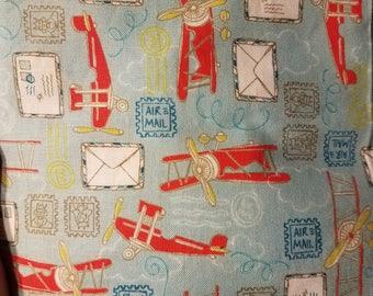 Fitted Crib Sheet Vintage Postage Airplane Red Blue Boy Bedding Nursery