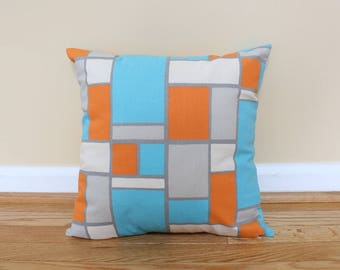 "Teal, Orange and Gray Geometric Pillow Covers. 16"" x 16"" shams fit 18"" pillow. Piet Mondrian Vibes."