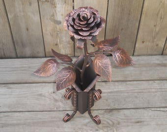 Forged rose in the vase, Metal rose, Iron flower, Metal sculpture, Wrought iron, 6th Anniversary gift, Valentin's Day gift, Metal art