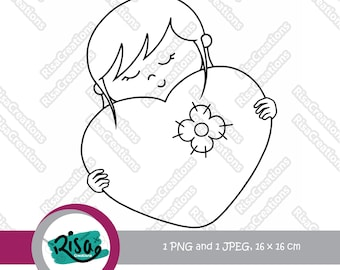 Girl And Heart Digital Stamp Love Stamps Clipart Coloring Pages Scrapbooking