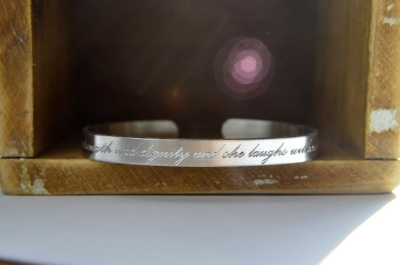 Engraved Personalized Cuff Bracelet | Custom Mantra Bracelet | Quote Bible Verse Love Note | Hidden Message | Silver Aluminum
