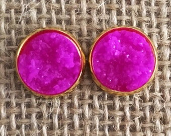 Druzy Studs in Radiant Orchid