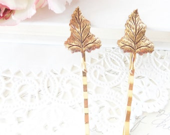 Golden Leaf Hair Pin Set - Bobby Pin - Woodland Collection - Whimsical - Nature - Bridal
