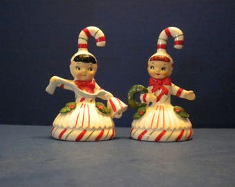 Lefton Candy Cane Girls  with Bell Skirts Set of Two (2) - One is Holding a Wreath, One is Holding a Bell - Adorable and Rare!