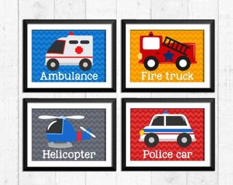 Rescue vehicles art prints, firetruck police helicopter ambulance decor, boy nursery decor, kids wall art, boys bedroom decor, kids art