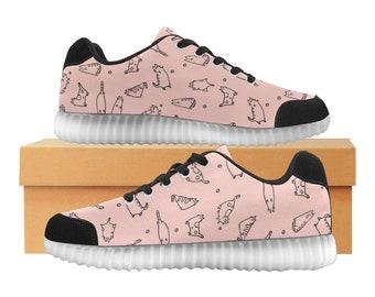 Catty fraise | LED Light Up chaussures | Hommes & femmes tailles | Tige extensible haute | Semelle intérieure en tissu | Recharger | Choisissez noir ou blanc garniture