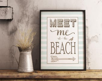 Meet me at the BEACH print, Nautical decor, Beach House decor, beach signs, Seaside Cottage art, Vacation, Wall Art Print, Instant Download