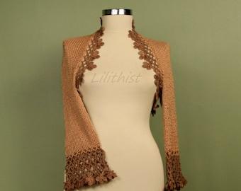 Knit Shrug and Bolero, Crochet Shrug, Knit Bolero, Brown Shrug, Caramel Beige Crochet Bolero, Women Sweater, Knit Cardigan