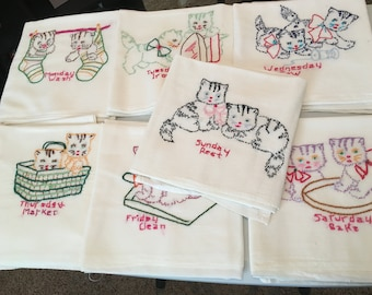 Vintage Day of the Week Kitty Flour Sack Towels