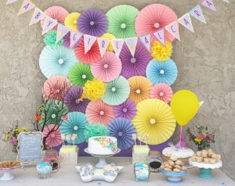 25pc pastel rainbow Paper Pinwheel's Rosette paper Flower Party Decoration wedding birthday baby shower pinwheel pinwheels table decoration