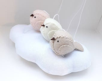 Baby mobile - natural nursery - gender neutral tones - pale peach, light beige, cream
