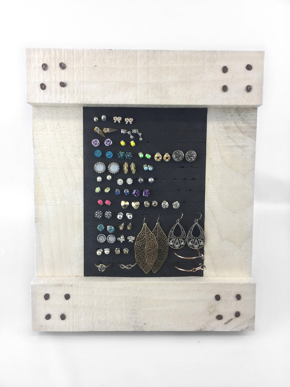 Rustic Earring Organizer - White Washed Frame - Earring Holder - 5x7 ...