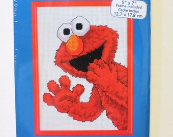 Elmo Cross Stitch Kit Janlynn Sesame Street Counted Cross Stitch Elmo Surprise Janlynn 1997 Unopened
