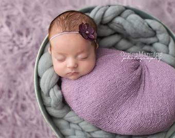 Newborn Wrap Set, Lavender Wrap Set, Lavender Knit Wrap, Photography Prop, Newborn Wrap Set, Photography Prop, Knit Wrap Set