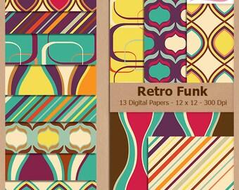 Digital Scrapbook Paper Pack - RETRO FUNK PATTERNS - Instant Download
