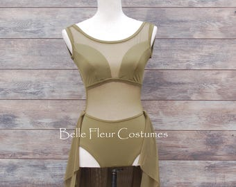 IVY-Lyrical Dance Costume/Contemporary Dance Costume with mesh inserts and flowy half skirt/Competition Dance Costume with open low back