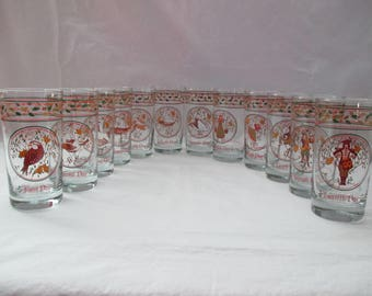 Vintage, Anchor Hocking, Complete Set of 12 Days of Christmas Glasses, 12.5 Ounces. 1980's
