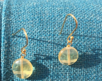 Natural Yellow Fluorite Earrings