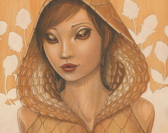 "Fine art print ""Naja"" Cute Snake Girl with Big Eyes and Cobra Hood - part of Wild Things Series by Carolina Lebar - 5"" x 7"""