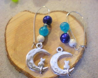 Kit GDE BO was * cat and beads turquoise and Navy blue * silver plated