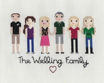 CUSTOM Family Cross Stitch Portrait - SIX Figures