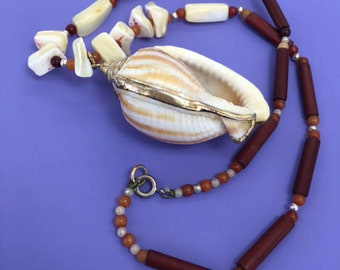 Shell Necklace Seashell Tribal Necklace Statement Necklace Ocean Nautical Necklace Resort Wear Jewelry